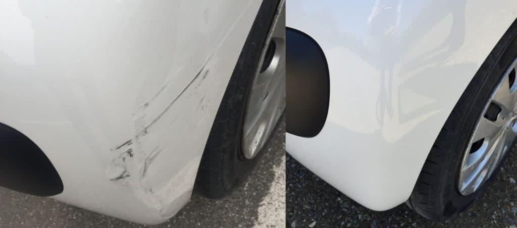 c1 polering før og efter parkeringsskade