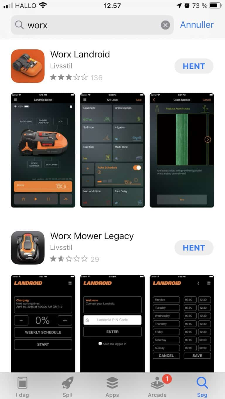 Hent Worx Landroid på Aplle App store